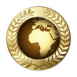 Award Globe – Africa with Olive Branch Wreath