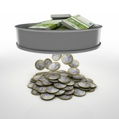 a sieve for sifting money