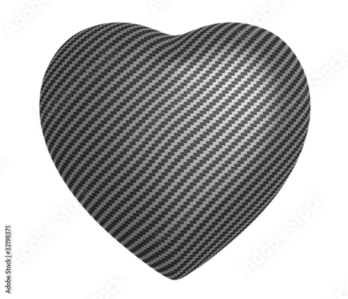Carbon fibre heart shape isolated