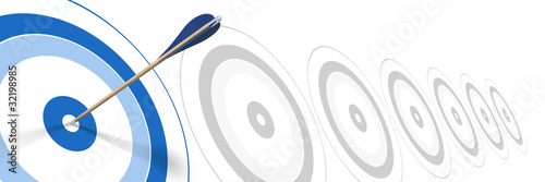blue arrow, hitting center of target - dart success concept