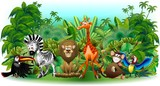 Fototapety Animali Selvaggi Cartoon Giungla-Wild Animals Background-Vector