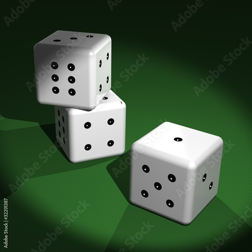 Tre dadi sul tavolo verde - Three dice on the game table