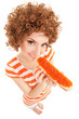 fun woman eating the sandwich with roe on the white background
