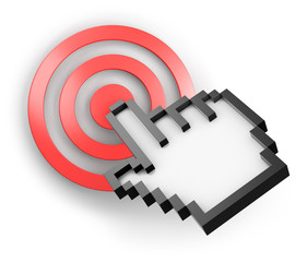 Three-dimensional computer hand cursor pointing on red target