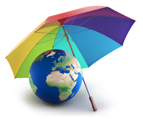 Earth under rainbow umbrella, nature preservation concept