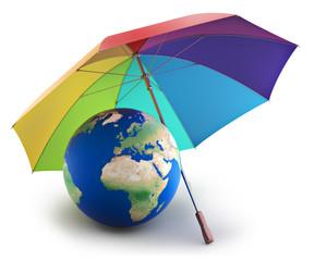 Earth under rainbow umbrella, nature preservation concept
