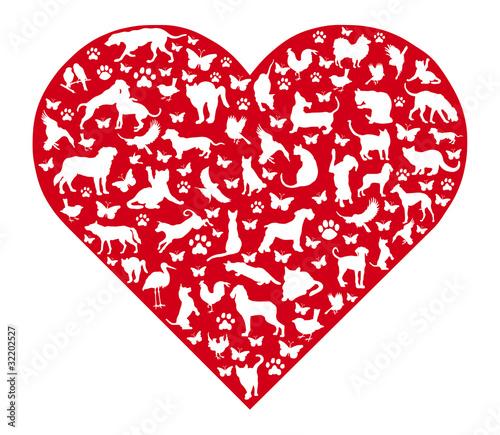 Rotes Herz mit Tieren
