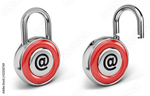 Web padlock, Internet security concept, isolated on white