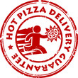 Stamp with pizza delivery man and the text Hot Pizza Delivery