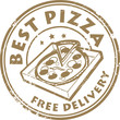 Stamp with pizza in box and the text Best pizza - free delivery