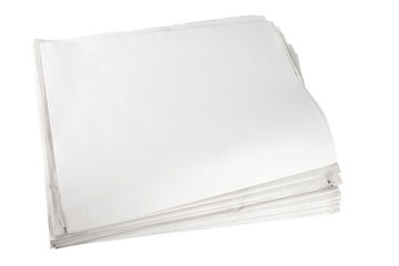 blank newspaper paper on isolated white