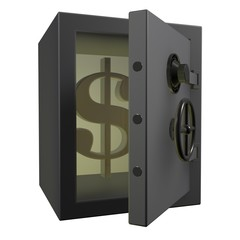 3d Safe deposit box with dollar signs in