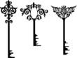 three decorated keys illustration