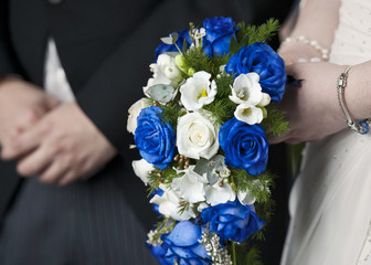 Bride and Groom with Wedding Flowers Bouquet