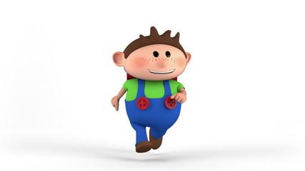school boy with satchel running - back to school concept