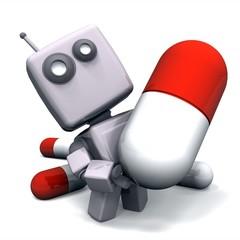 3D Gray Robot with Medicine Pill