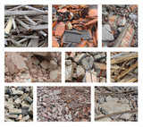 composition with different types of rubble from demolition poster
