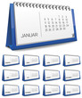 Kalender blau Monat zahlen Ziffern set