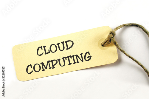 Cloud Computing Plakette auf weiß isoliert