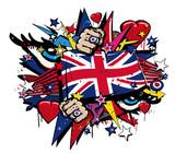 Fototapety Graffiti UK flag pop art illustration
