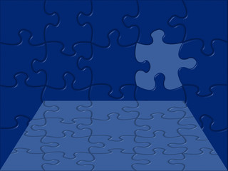 blue puzzle perspective background