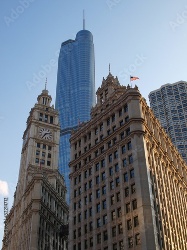 Trump Tower behind Wrigley building Chicago USA