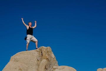 Rock Climber Bouldering Celebration