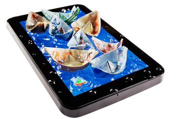 Euro banknotes swimming on tablet pc screen