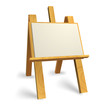 Vector wooden easel with blank canvas