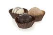 Gourmet chocolate bonbons isolated on white background.