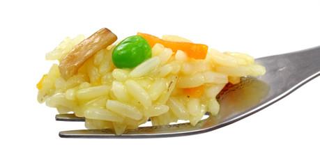 Fork full of rice pilaf