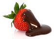 strawberry in chocolate over white background