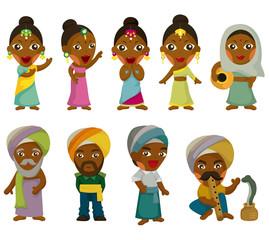 Vector of cartoon Indian icon set