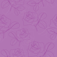 vector violet seamless pattern with roses