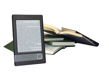 Ebook with ordinary books