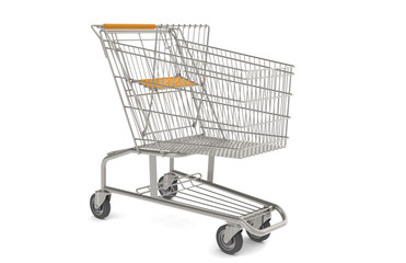 Shopping Cart. Steel Shopping Trolley side view