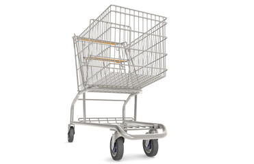 Shopping Cart. Trolley with orange seat and handle. Front view.