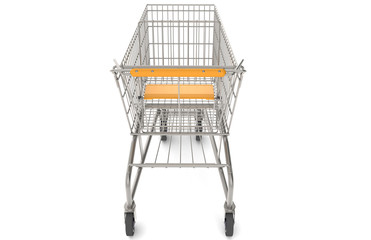 Shopping Cart.Trolley with orange seat and handle. Rear view