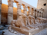 Ram headed sphinxes at temple Complex at Karnak Egypt