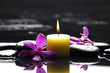 spa scene -aromatherapy candle and zen stones