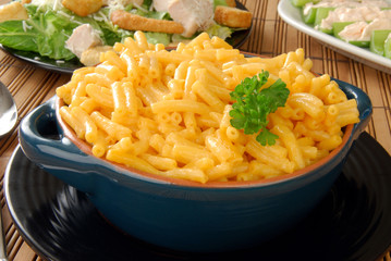 Macaroni and cheese and a Ceasar salad