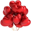 Heart shaped birthday balloons colorful red. Decoration of Love