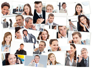 Collage of business people having phone conversation