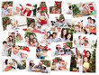 Collage of families celebrating Christmas