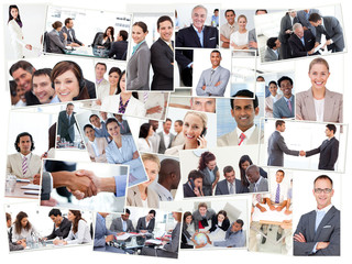Collage of business people working