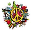 Graffiti Peace and Love symbol pop art illustration