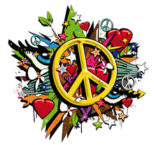 Graffiti Peace and Love symbol pop art illustration