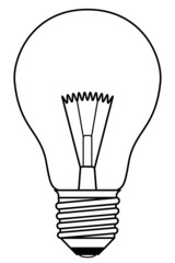 Vector traditional light bulb in a black and white design