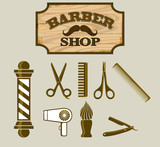 Barbershop or Hairdresser Icons and Signpost poster