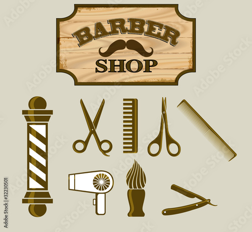 Barbershop or Hairdresser Icons and Signpost